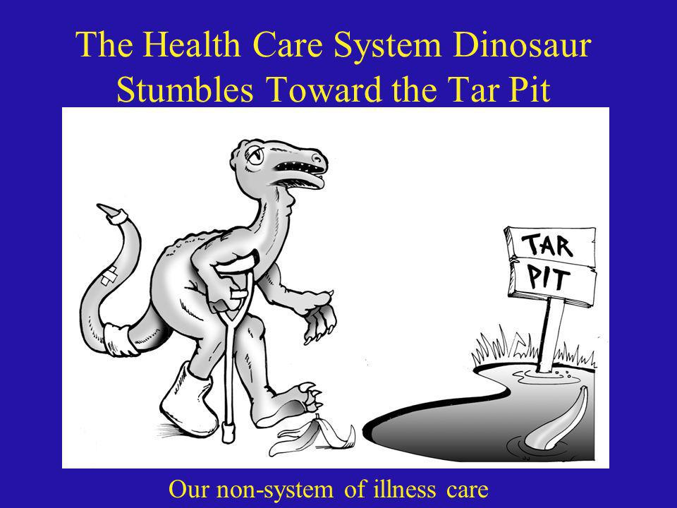 The Health Care System Dinosaur Stumbles Toward the Tar Pit Our non-system of illness care