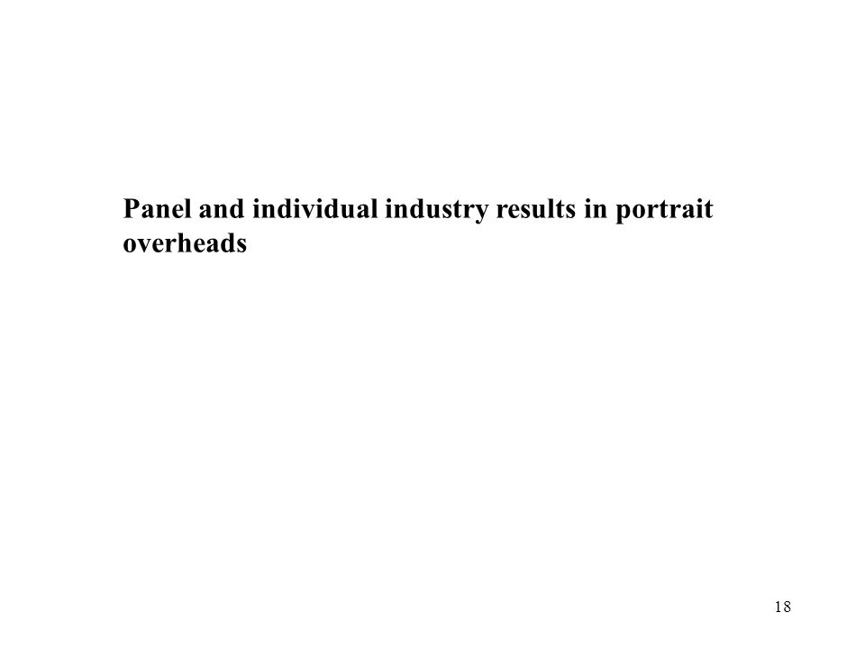 18 Panel and individual industry results in portrait overheads