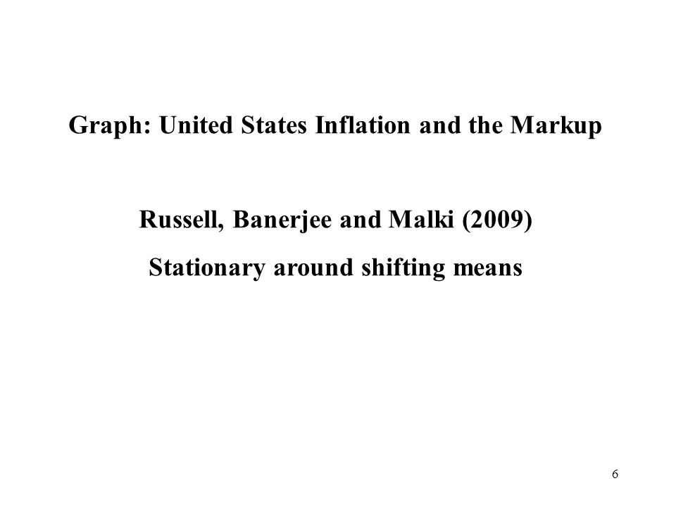 6 Graph: United States Inflation and the Markup Russell, Banerjee and Malki (2009) Stationary around shifting means