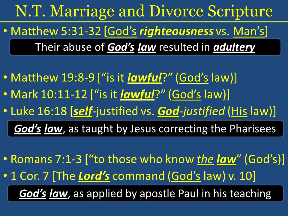 N.T. Marriage and Divorce Scripture Matthew 5:31-32 [Gods righteousness vs. Mans] Their abuse of Gods law resulted in adultery Matthew 19:8-9 [is it l