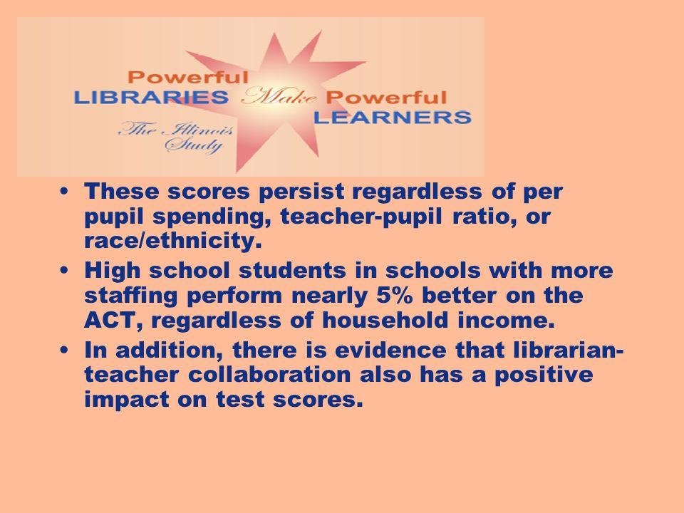 These scores persist regardless of per pupil spending, teacher-pupil ratio, or race/ethnicity.