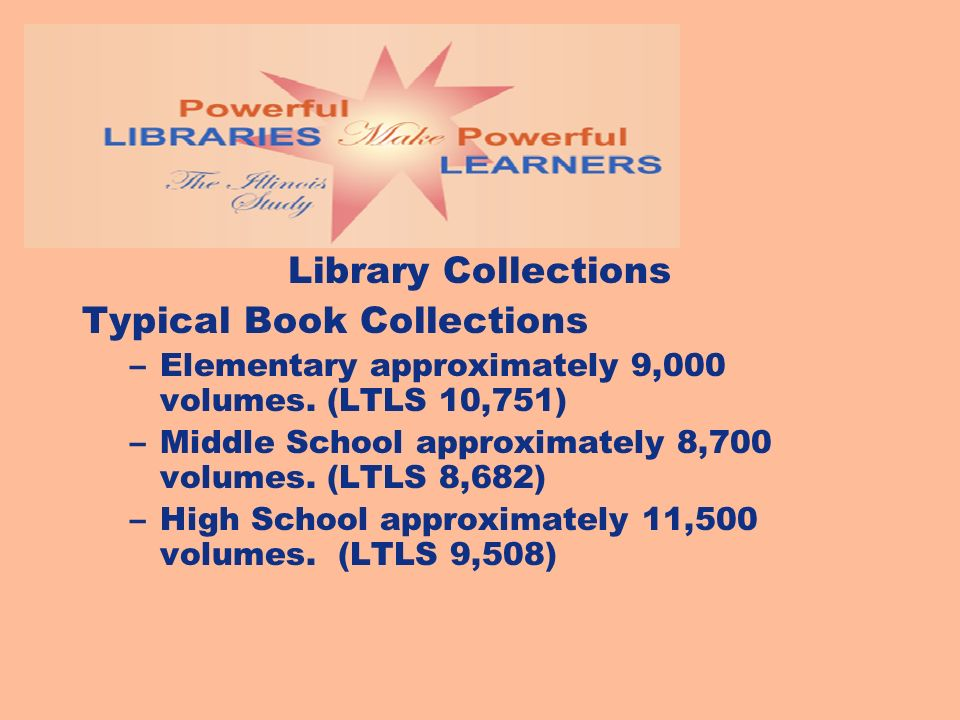 Library Collections Typical Book Collections –Elementary approximately 9,000 volumes. (LTLS 10,751) –Middle School approximately 8,700 volumes. (LTLS