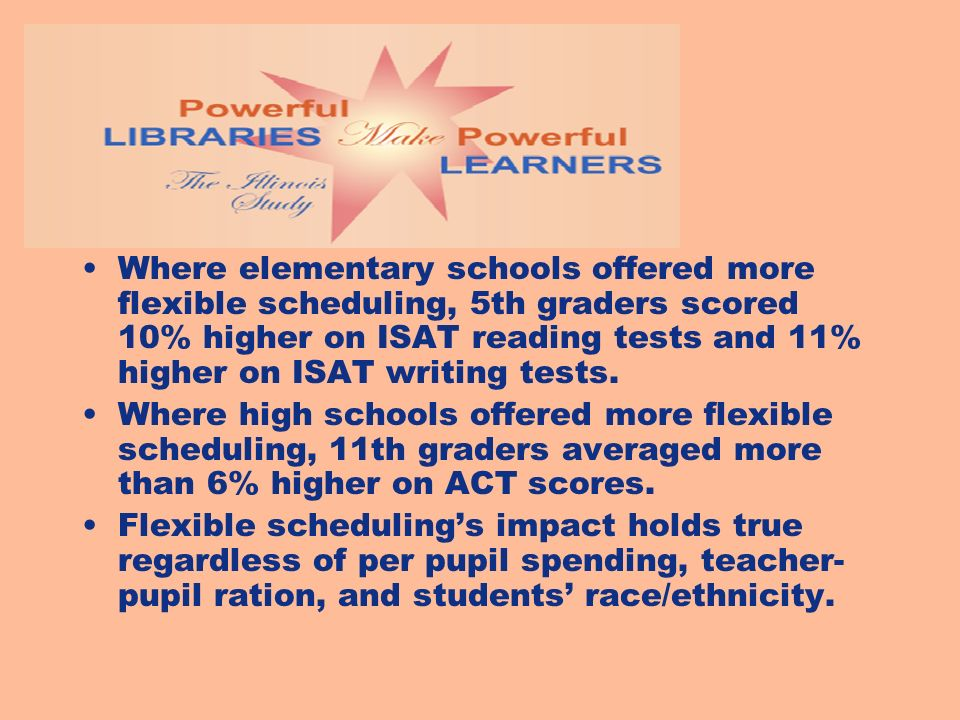 Where elementary schools offered more flexible scheduling, 5th graders scored 10% higher on ISAT reading tests and 11% higher on ISAT writing tests. W