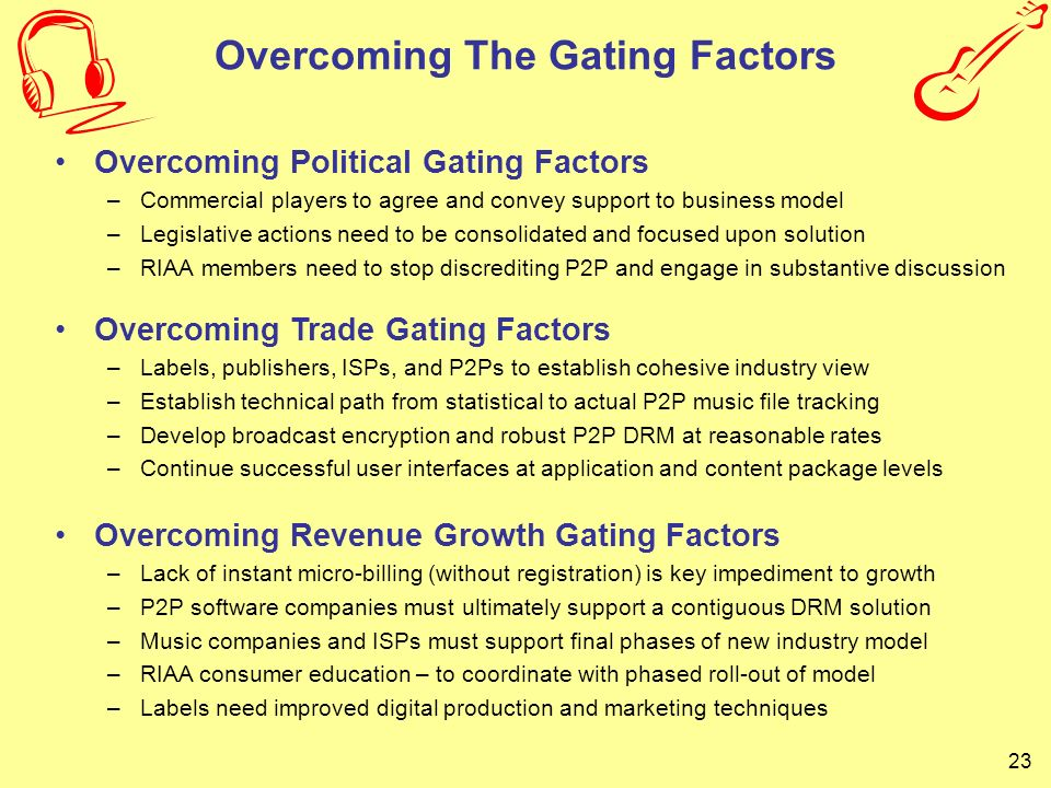 23 Overcoming The Gating Factors Overcoming Political Gating Factors –Commercial players to agree and convey support to business model –Legislative ac