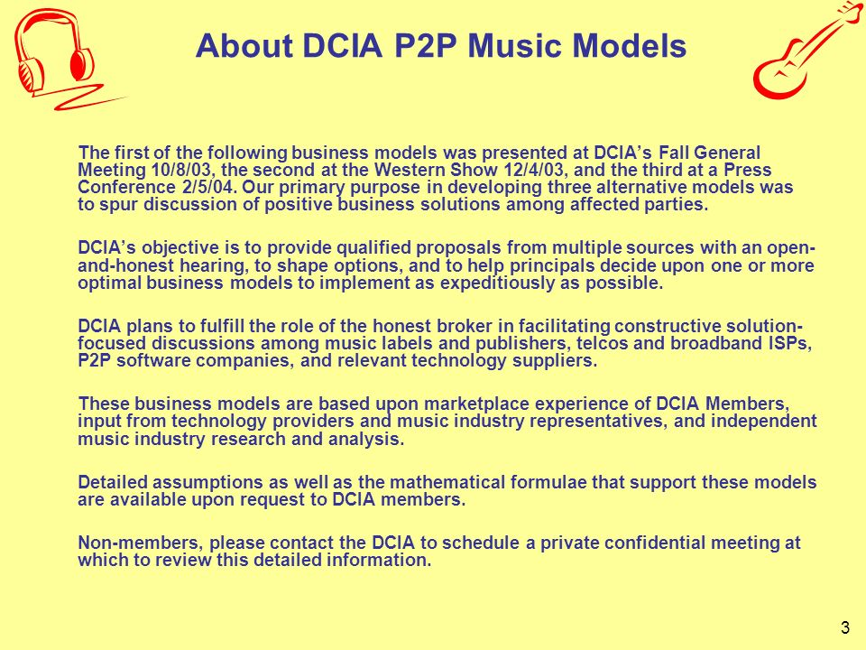 24 DCIA P2P Music Model C Proposed Business Model for Digital Music Distribution Press Conference Call February 5, 2004