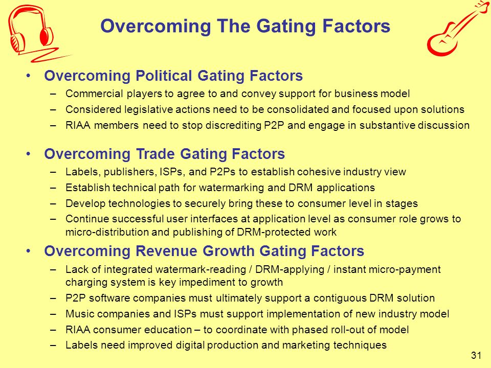 31 Overcoming The Gating Factors Overcoming Political Gating Factors –Commercial players to agree to and convey support for business model –Considered