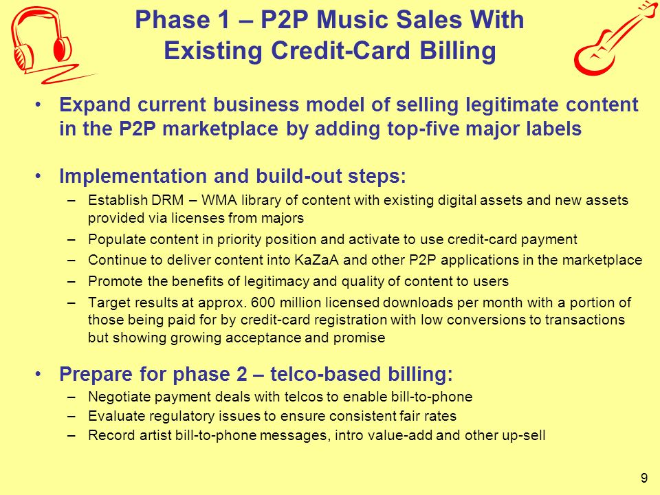 10 P2P Adaptation of Business Practices from Successful Search Engines As with sponsored links on search engines, licensed music will be placed at the top of P2P search results The Monetization of P2P Content Searches is in its Infancy – Comparable to 1992 in the Traditional Web Search Market