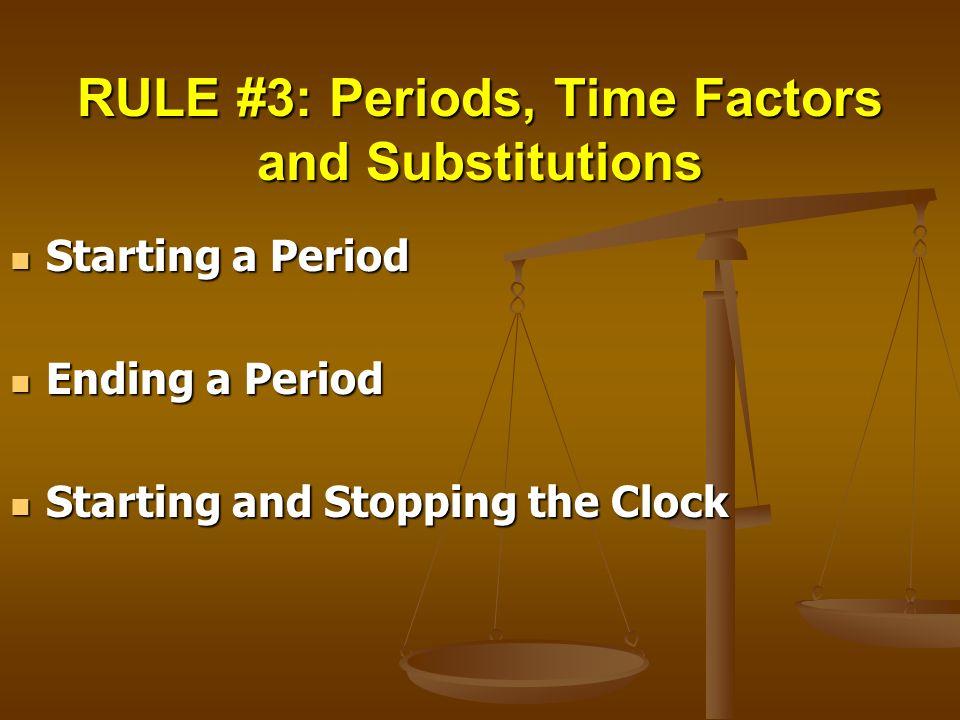 Starting a Period Starting a Period Ending a Period Ending a Period Starting and Stopping the Clock Starting and Stopping the Clock
