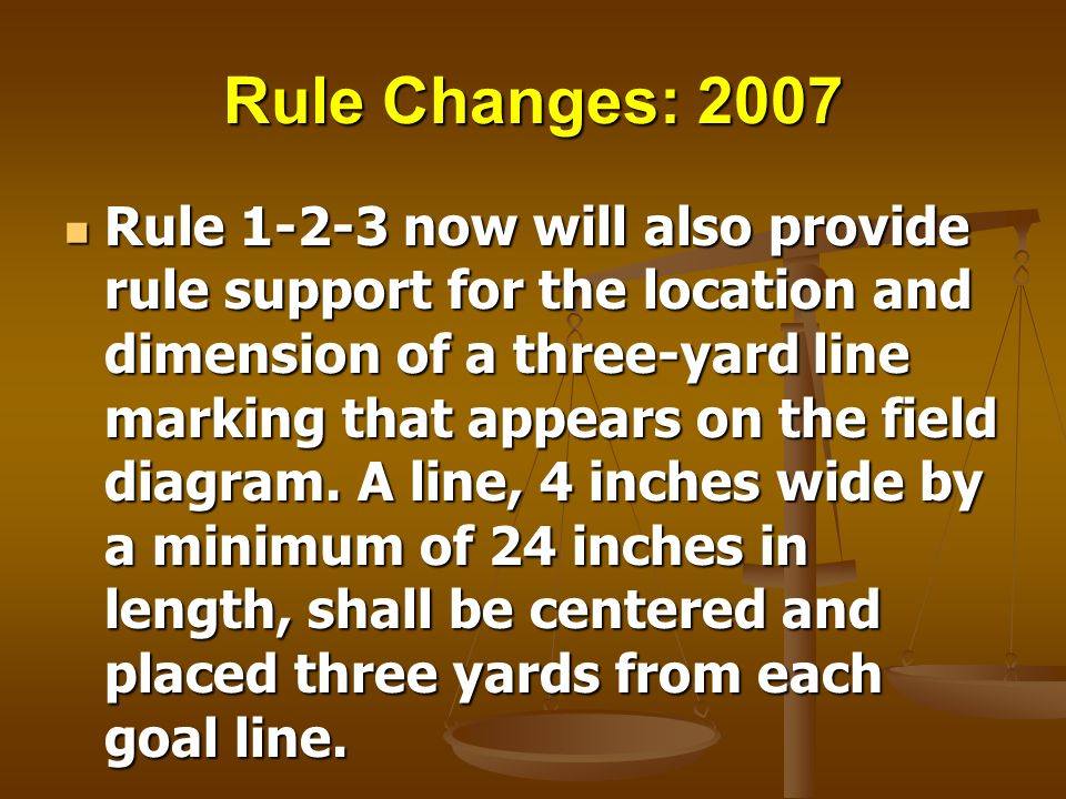 Rule Changes: 2007 Rule 1-2-3 now will also provide rule support for the location and dimension of a three-yard line marking that appears on the field