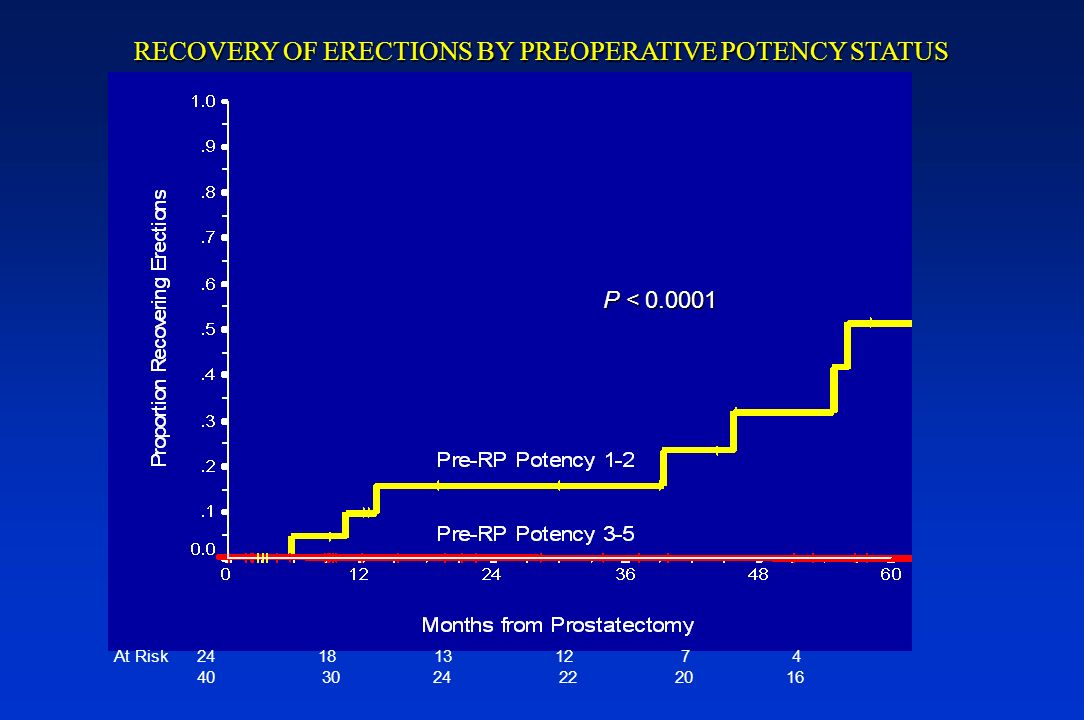 At Risk 24 18 13 12 7 4 40 30 24 22 20 16 RECOVERY OF ERECTIONS BY PREOPERATIVE POTENCY STATUS P < 0.0001