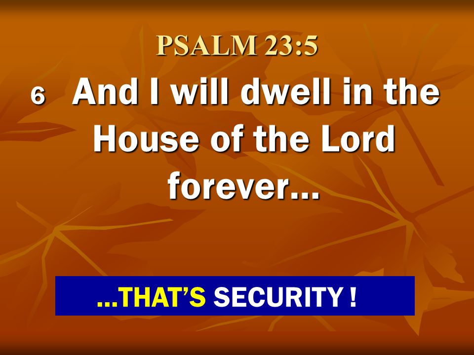 PSALM 23:5 6 And I will dwell in the House of the Lord forever…...THATS SECURITY !
