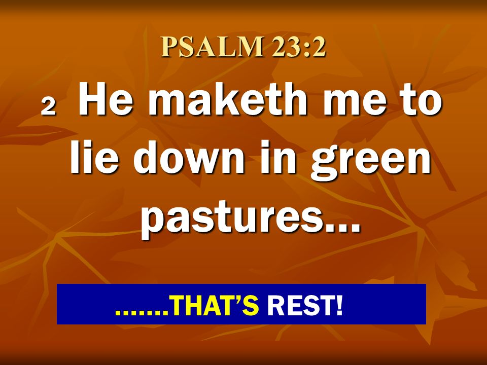 PSALM 23:2 2 He maketh me to lie down in green pastures… …….THATS REST!