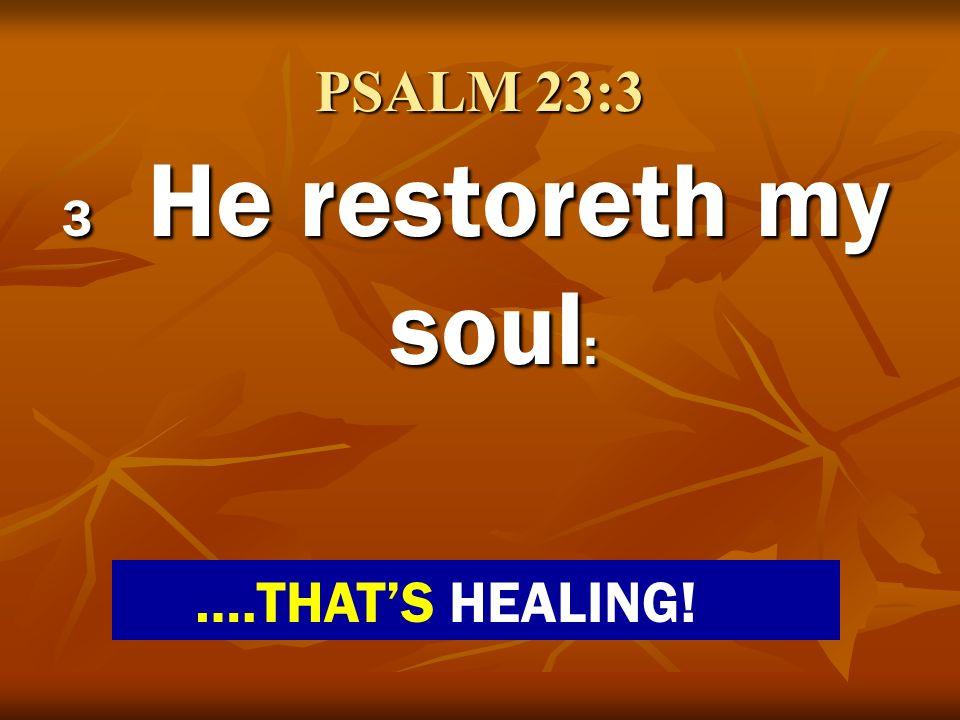 PSALM 23:3 3 He restoreth my soul : ….THATS HEALING!