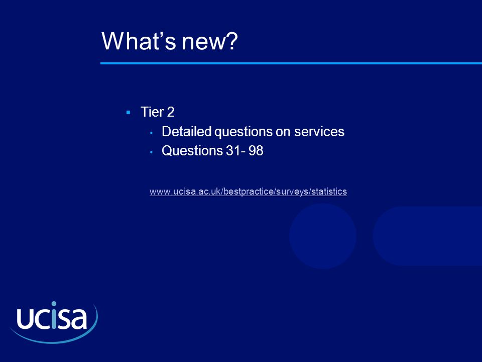 Whats new? Tier 2 Detailed questions on services Questions 31- 98 www.ucisa.ac.uk/bestpractice/surveys/statistics