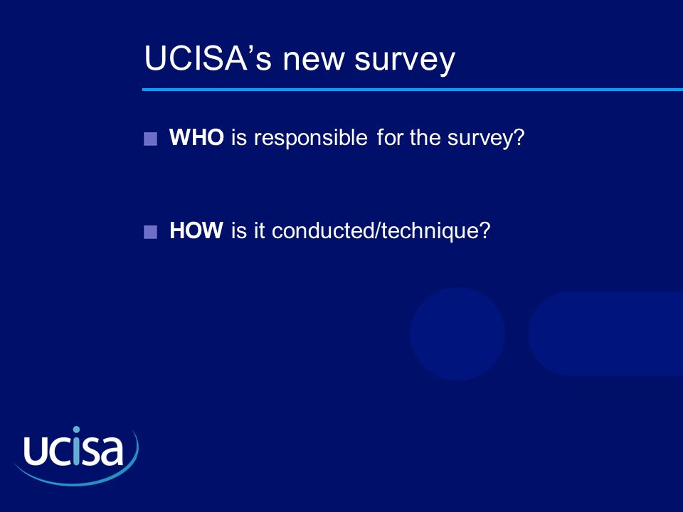 UCISAs new survey WHO is responsible for the survey? HOW is it conducted/technique?