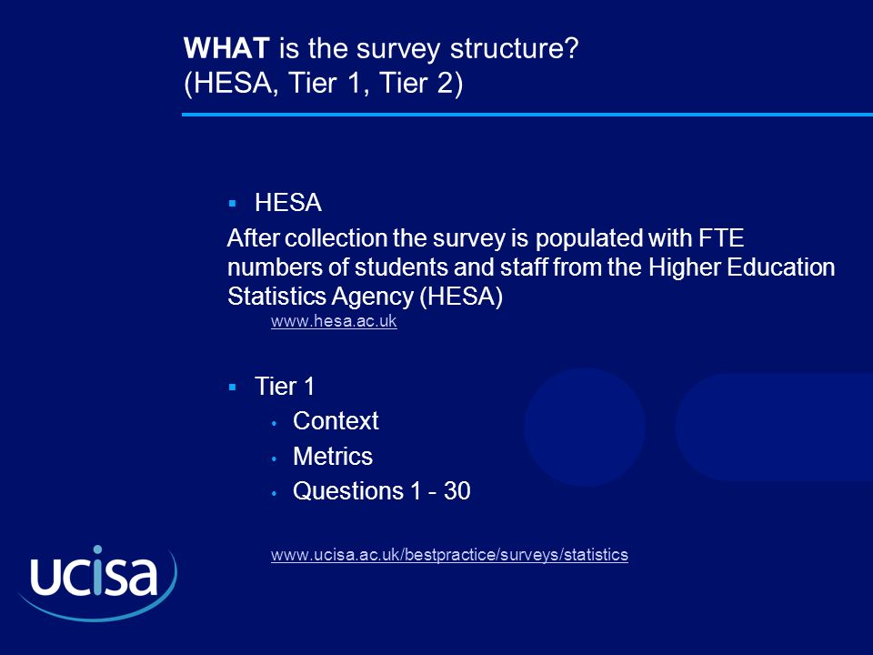 WHAT is the survey structure? (HESA, Tier 1, Tier 2) HESA After collection the survey is populated with FTE numbers of students and staff from the Hig