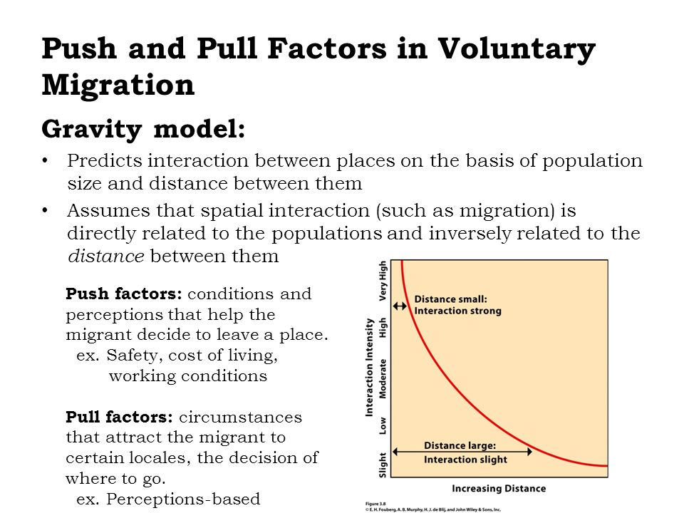 Gravity model: Predicts interaction between places on the basis of population size and distance between them Assumes that spatial interaction (such as