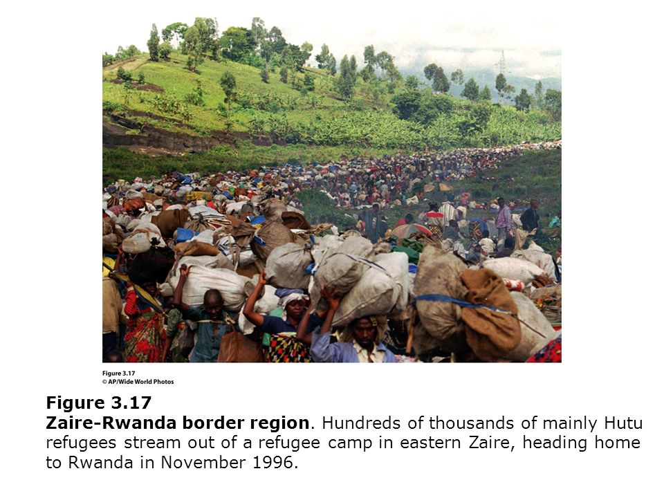 Figure 3.17 Zaire-Rwanda border region. Hundreds of thousands of mainly Hutu refugees stream out of a refugee camp in eastern Zaire, heading home to R