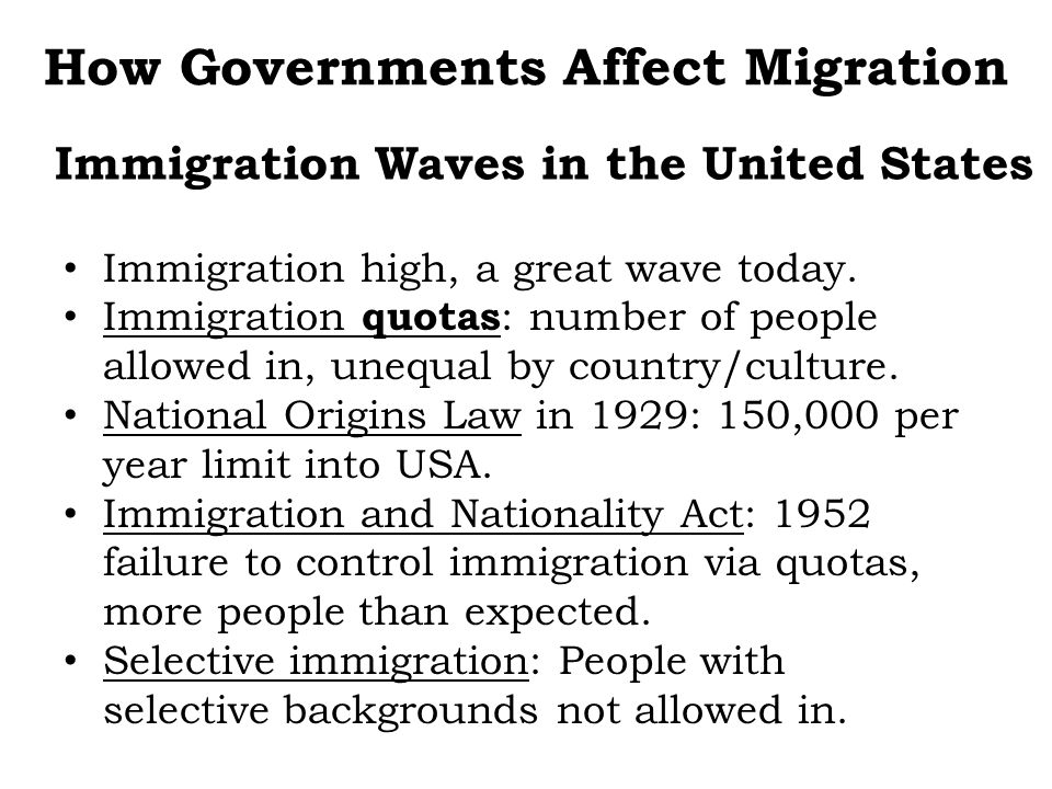 Immigration high, a great wave today. Immigration quotas : number of people allowed in, unequal by country/culture. National Origins Law in 1929: 150,