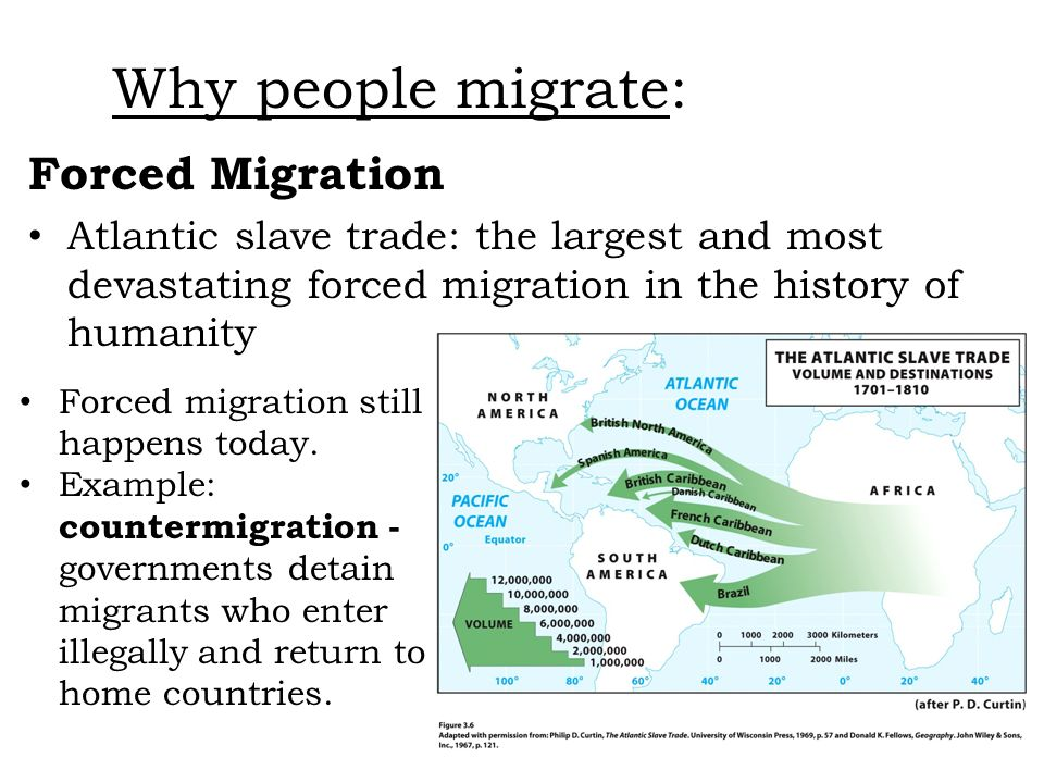 Forced Migration Atlantic slave trade: the largest and most devastating forced migration in the history of humanity Why people migrate: Forced migrati