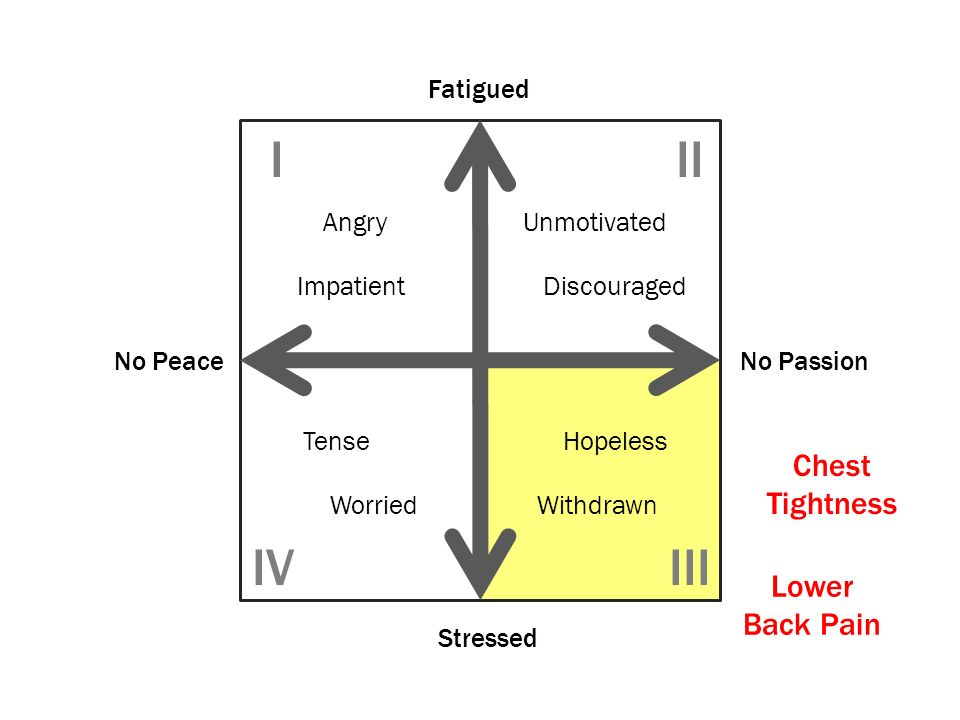 No PeaceNo Passion Stressed Fatigued Angry Impatient Unmotivated Discouraged Tense Worried Hopeless Withdrawn III IIIIV Chest Tightness Lower Back Pai
