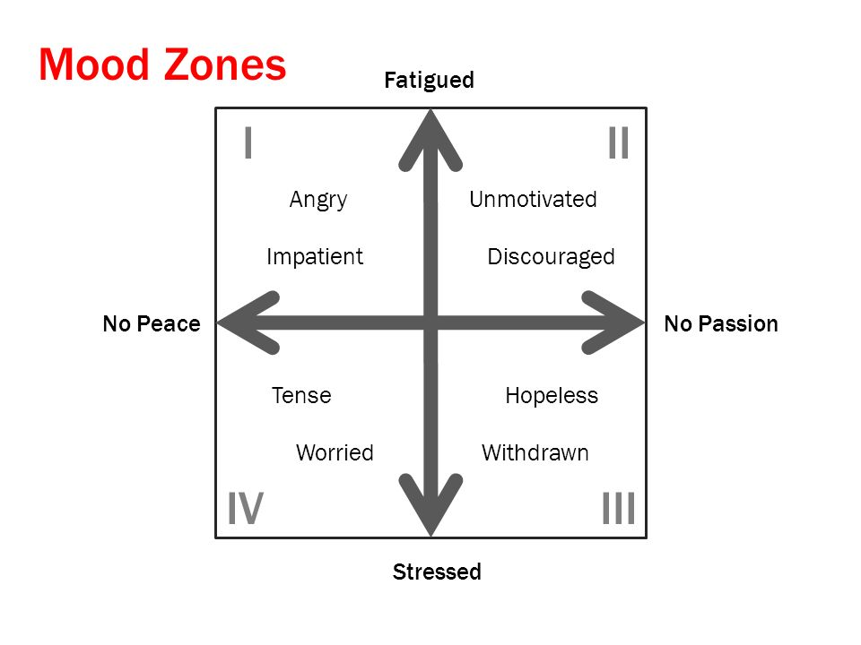 No PeaceNo Passion Stressed Fatigued Angry Impatient Unmotivated Discouraged Tense Worried Hopeless Withdrawn III IIIIV Mood Zones