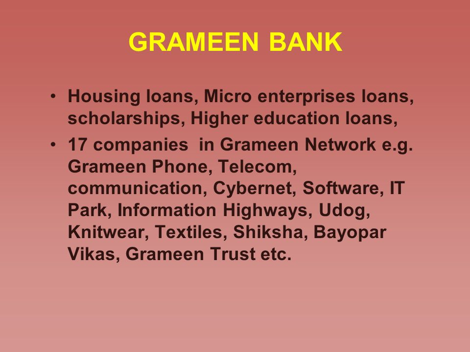 GRAMEEN BANK Housing loans, Micro enterprises loans, scholarships, Higher education loans, 17 companies in Grameen Network e.g. Grameen Phone, Telecom