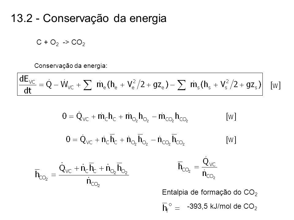 13.2 - Conservação da energia C + O 2 -> CO 2 Conservação da energia: Entalpia de formação do CO 2 -393,5 kJ/mol de CO 2