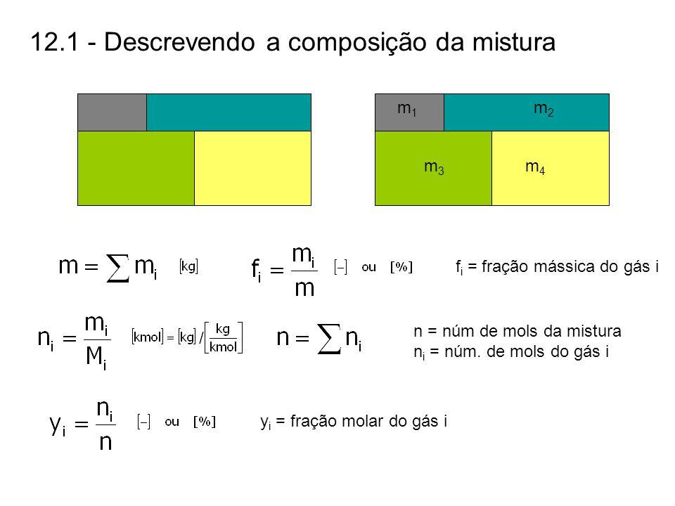 12.1 - Descrevendo a composição da mistura n = núm de mols da mistura n i = núm. de mols do gás i f i = fração mássica do gás i y i = fração molar do