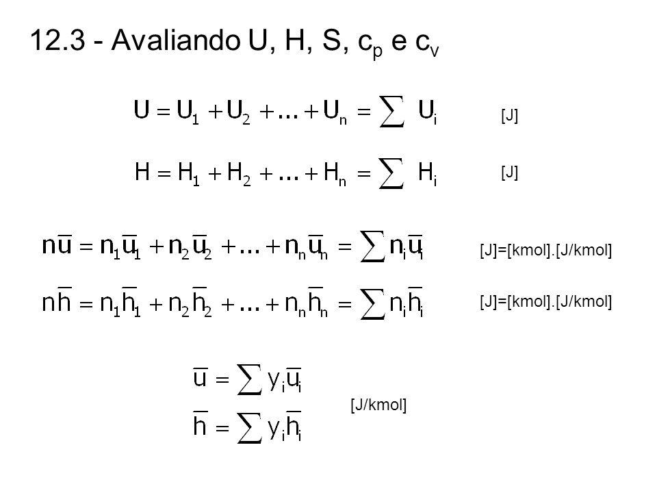 12.3 - Avaliando U, H, S, c p e c v [J] [J]=[kmol].[J/kmol] [J/kmol]