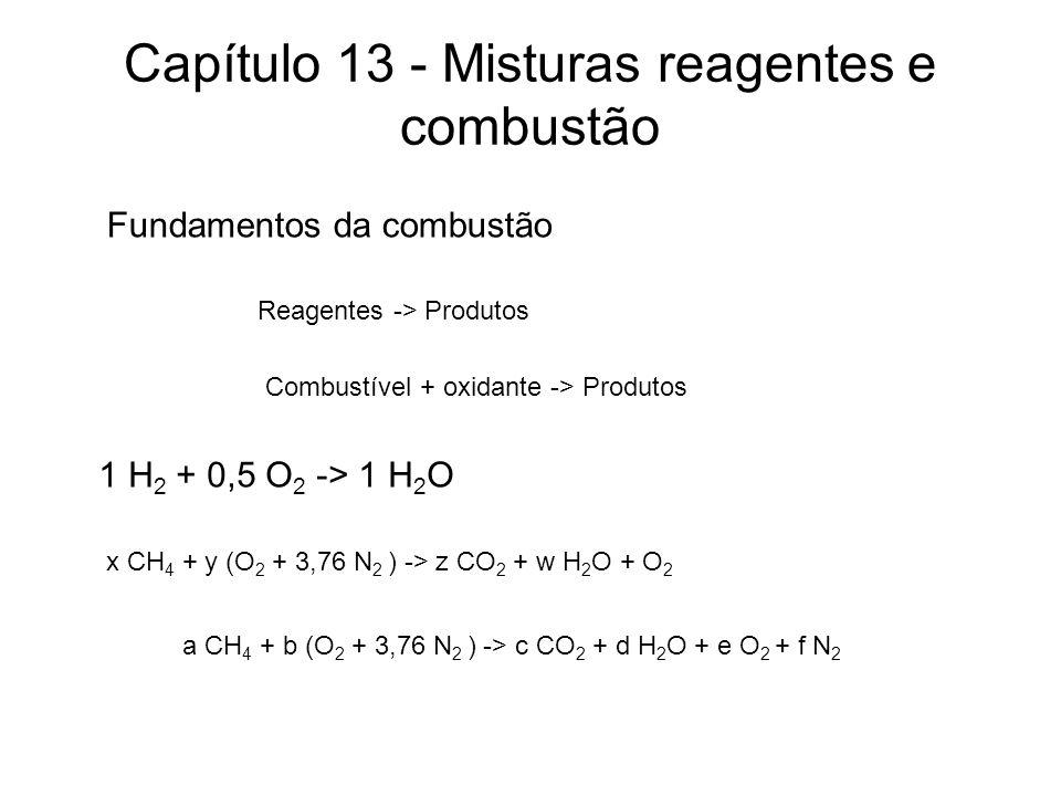 Capítulo 13 - Misturas reagentes e combustão Fundamentos da combustão Reagentes -> Produtos 1 H 2 + 0,5 O 2 -> 1 H 2 O Combustível + oxidante -> Produ