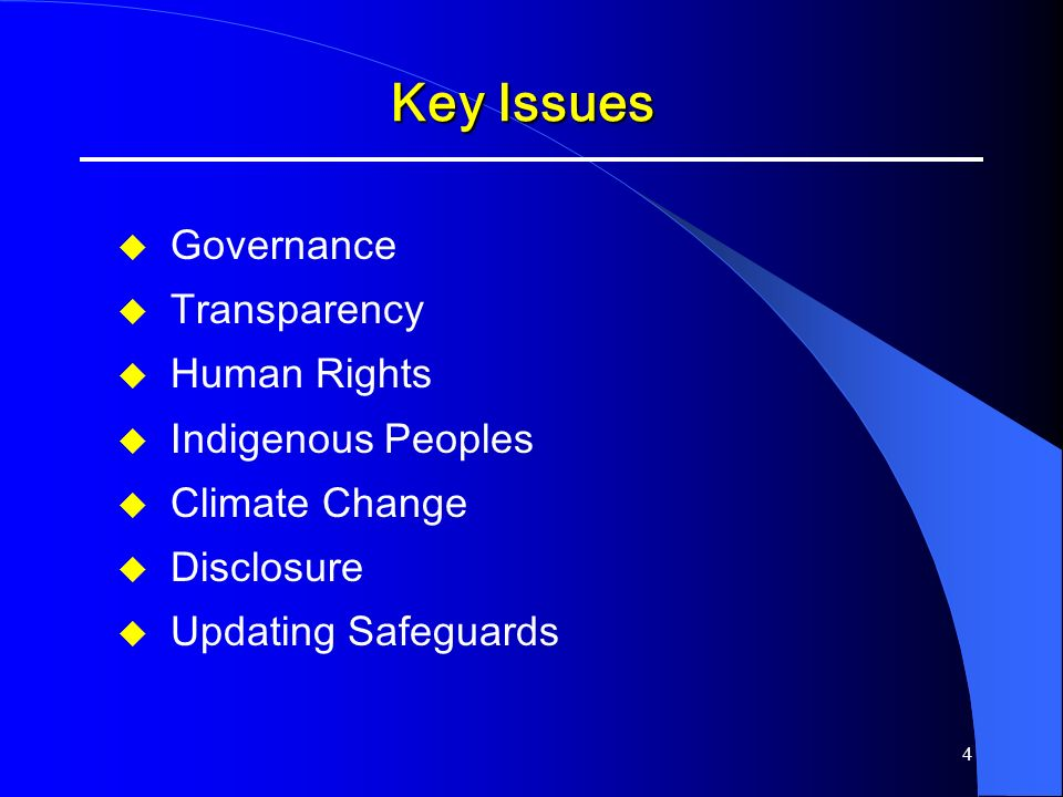 4 Key Issues Governance Transparency Human Rights Indigenous Peoples Climate Change Disclosure Updating Safeguards