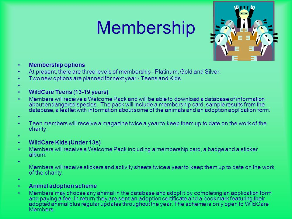 Membership Membership options At present, there are three levels of membership - Platinum, Gold and Silver. Two new options are planned for next year