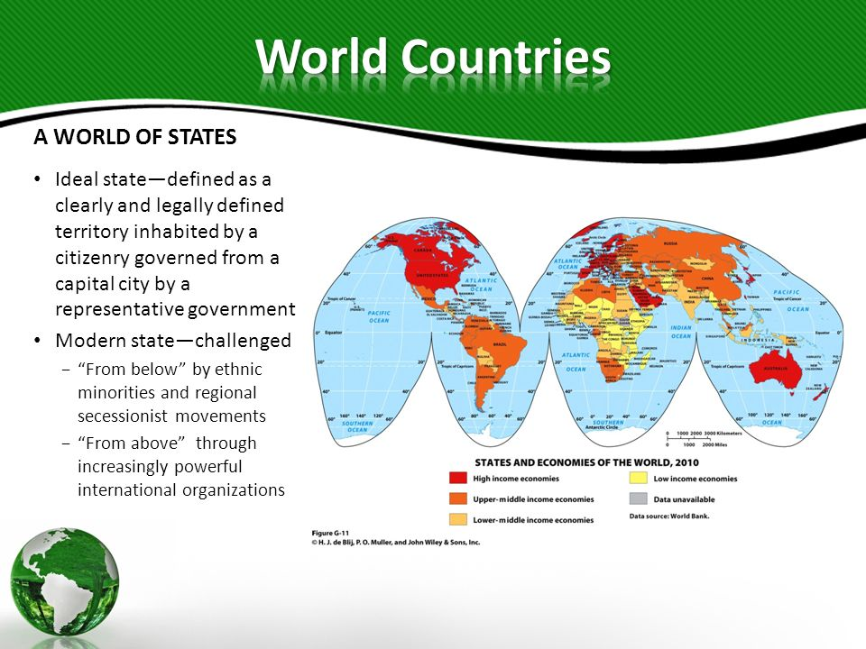 A WORLD OF STATES Ideal statedefined as a clearly and legally defined territory inhabited by a citizenry governed from a capital city by a representat