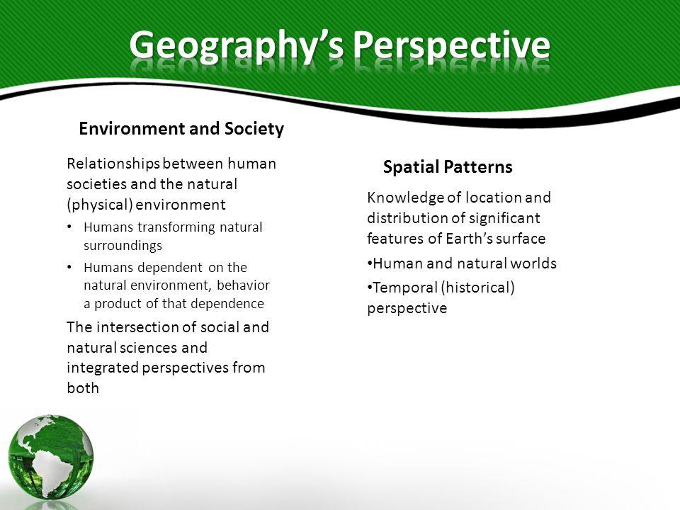 Environment and Society Relationships between human societies and the natural (physical) environment Humans transforming natural surroundings Humans d