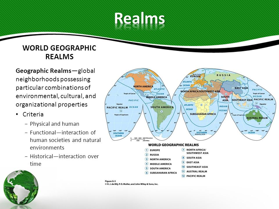 WORLD GEOGRAPHIC REALMS Geographic Realmsglobal neighborhoods possessing particular combinations of environmental, cultural, and organizational proper