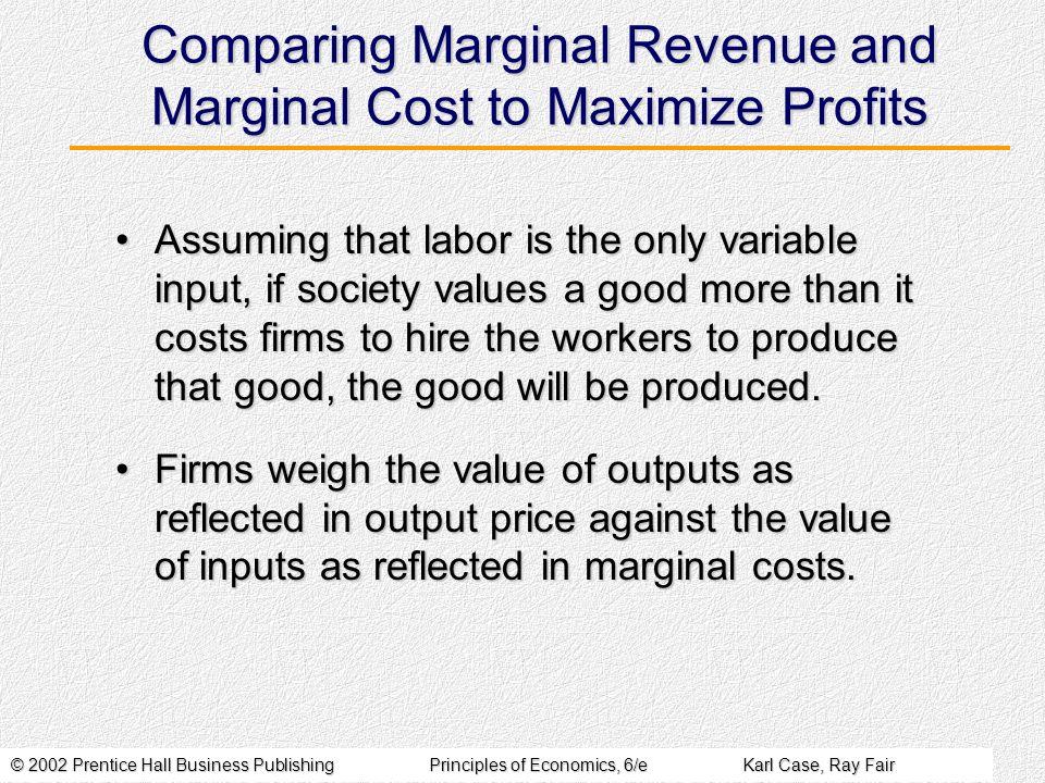 © 2002 Prentice Hall Business PublishingPrinciples of Economics, 6/eKarl Case, Ray Fair Comparing Marginal Revenue and Marginal Cost to Maximize Profi