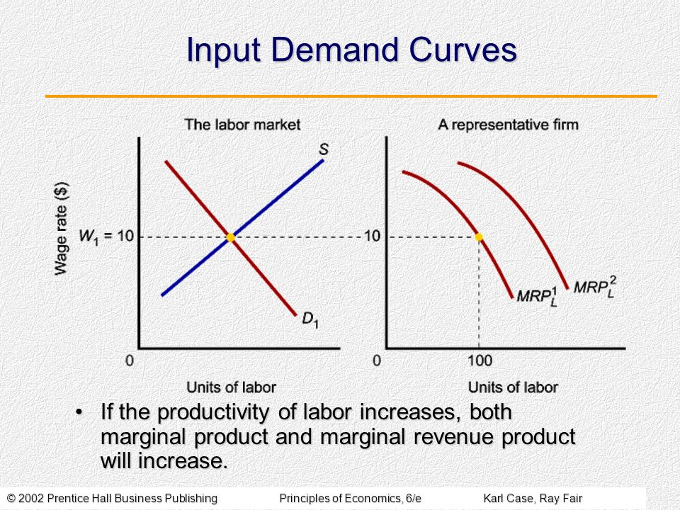 © 2002 Prentice Hall Business PublishingPrinciples of Economics, 6/eKarl Case, Ray Fair Input Demand Curves If the productivity of labor increases, bo