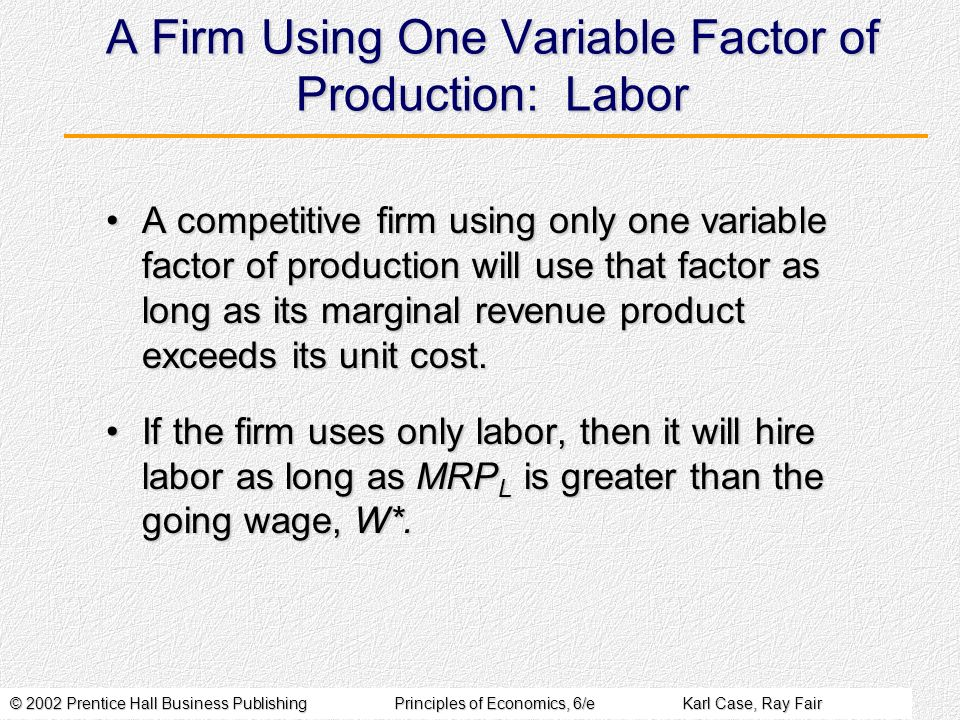 © 2002 Prentice Hall Business PublishingPrinciples of Economics, 6/eKarl Case, Ray Fair A Firm Using One Variable Factor of Production: Labor A compet