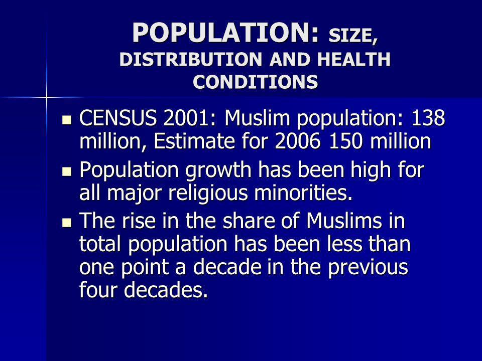 POPULATION: SIZE, DISTRIBUTION AND HEALTH CONDITIONS CENSUS 2001: Muslim population: 138 million, Estimate for 2006 150 million CENSUS 2001: Muslim po