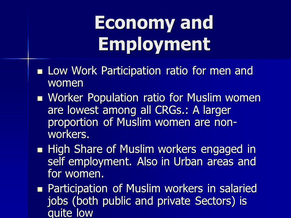Economy and Employment Low Work Participation ratio for men and women Low Work Participation ratio for men and women Worker Population ratio for Musli