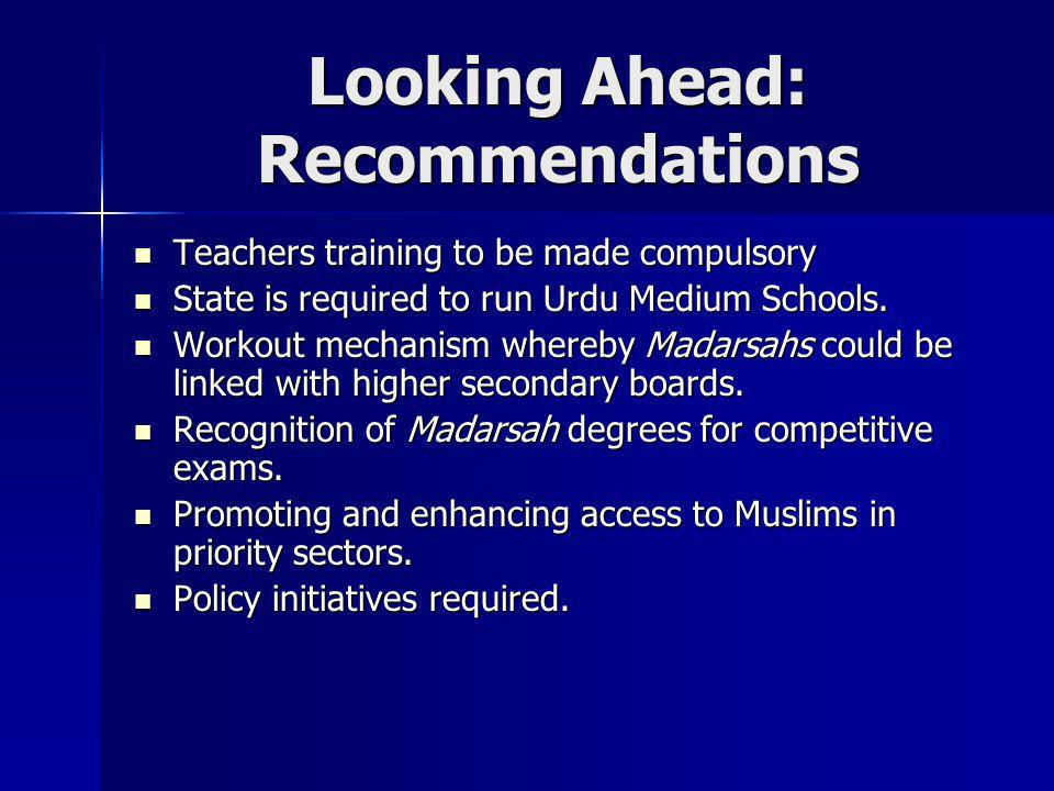 Looking Ahead: Recommendations Teachers training to be made compulsory Teachers training to be made compulsory State is required to run Urdu Medium Sc