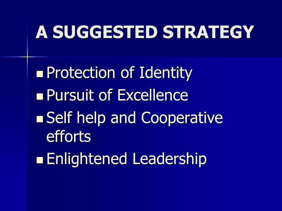 A SUGGESTED STRATEGY Protection of Identity Protection of Identity Pursuit of Excellence Pursuit of Excellence Self help and Cooperative efforts Self