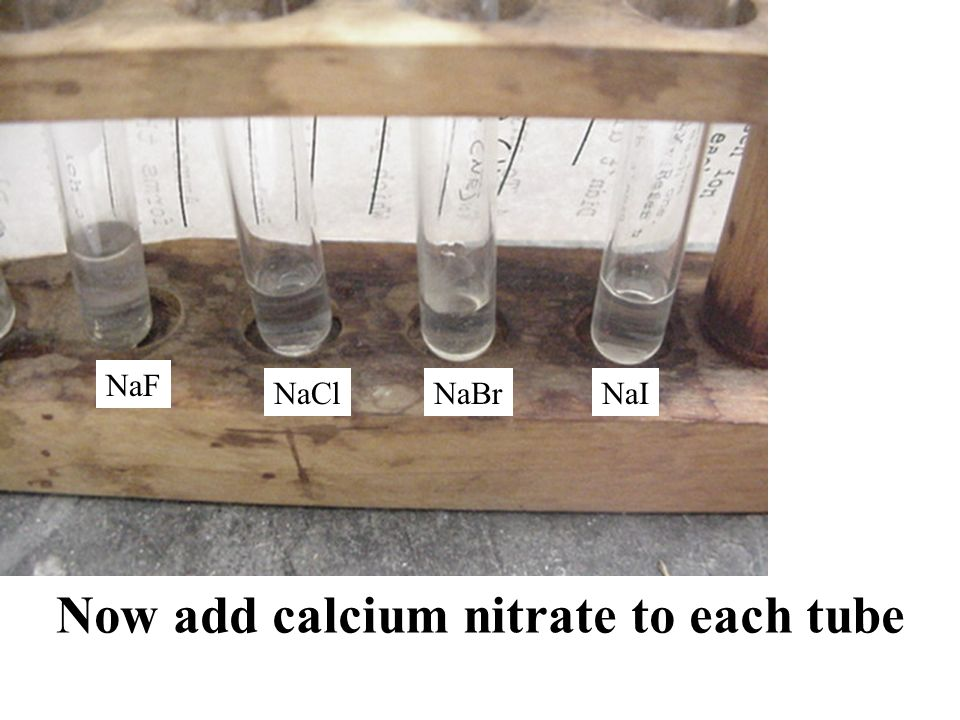 NaF NaClNaBrNaI Now add calcium nitrate to each tube