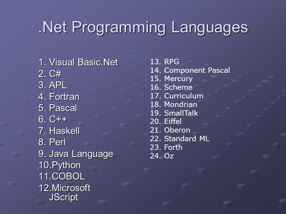 .Net Programming Languages 1.Visual Basic.Net 2.C# 3.APL 4.Fortran 5.Pascal 6.C++ 7.Haskell 8.Perl 9.Java Language 10.Python 11.COBOL 12.Microsoft JSc