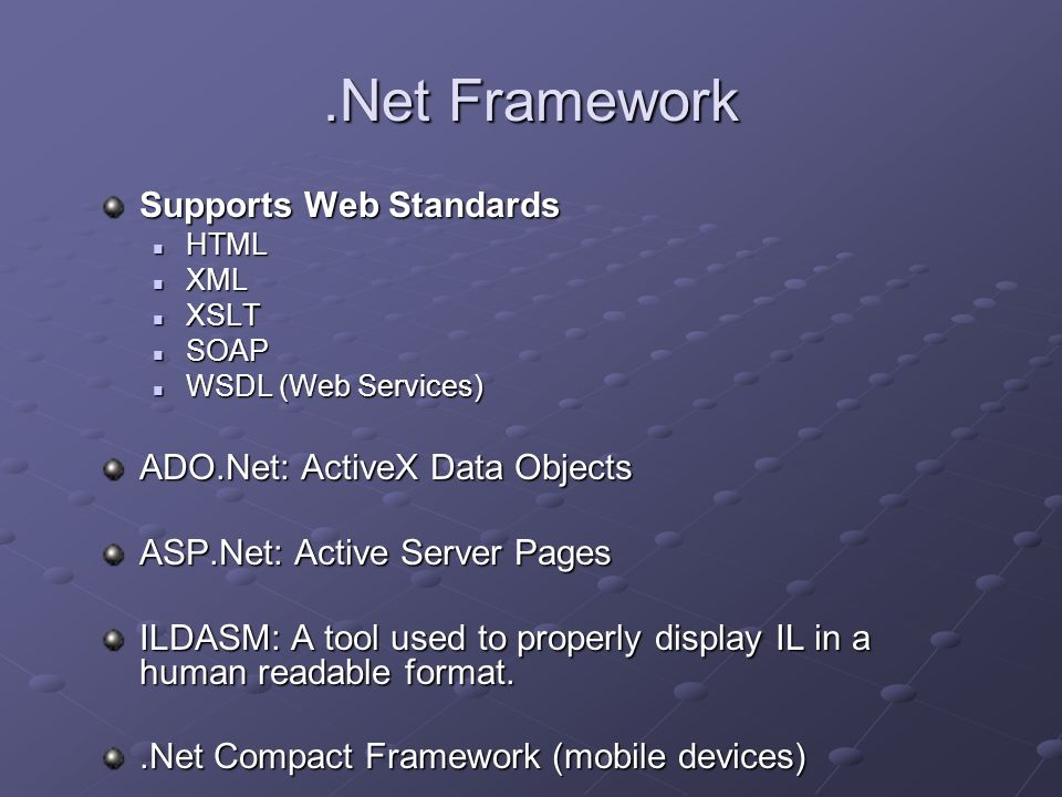 Advantages of.Net Write once, run everywhere Multiple programming languages (20+) Coding Reduction Controls Controls Template projects Template projects IIS/Cassini support IIS/Cassini support Ease of Deployment Security Features Evidence-based security Evidence-based security Code access security Code access security The verification process The verification process Role-based security Role-based security Cryptography Cryptography Application domains Application domains
