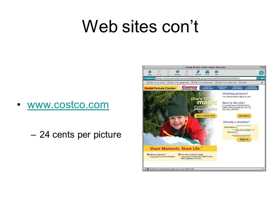 Web sites cont www.costco.com –24 cents per picture