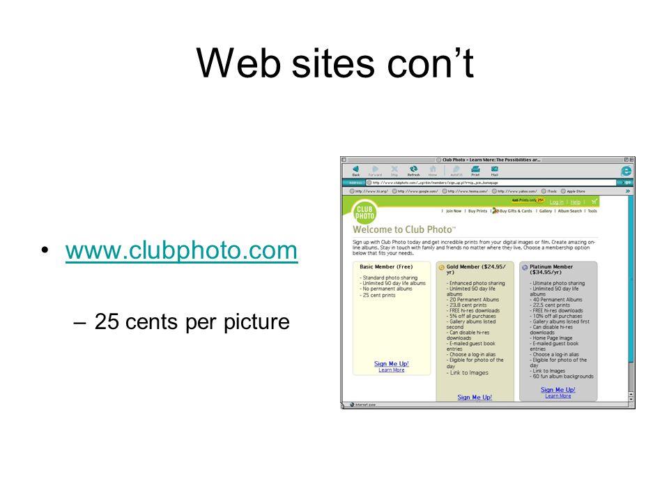 Web sites cont www.clubphoto.com –25 cents per picture