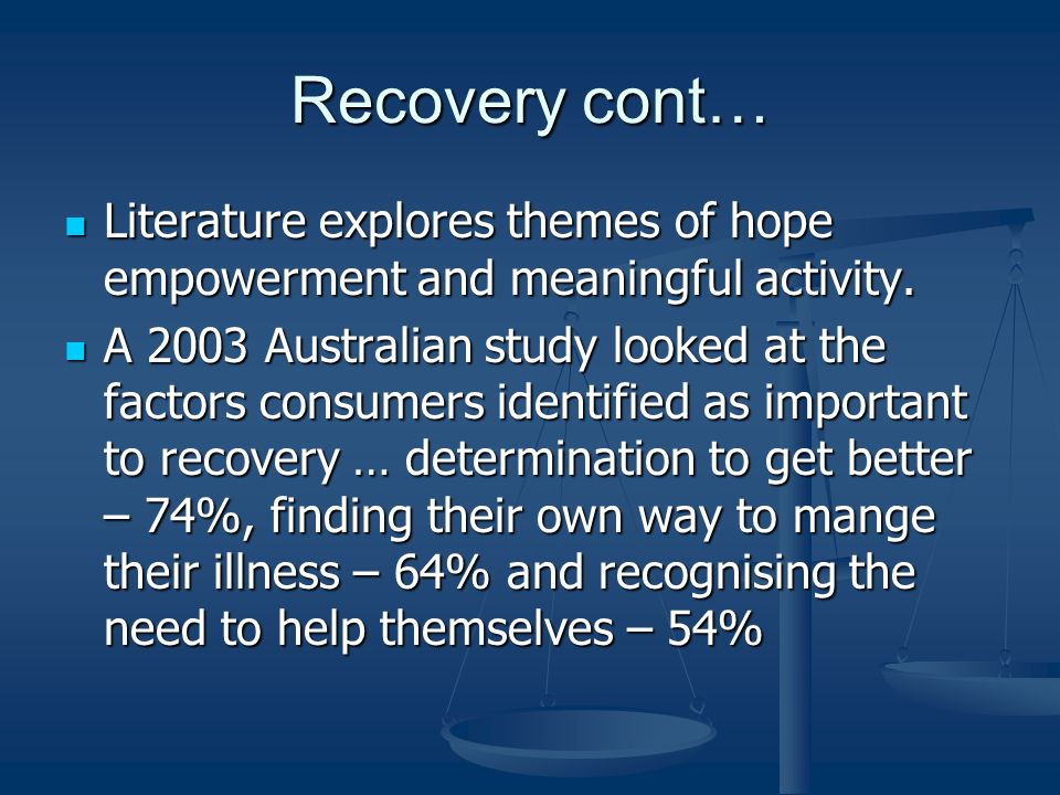 Recovery cont… Literature explores themes of hope empowerment and meaningful activity. Literature explores themes of hope empowerment and meaningful a
