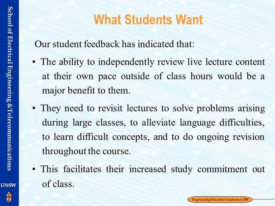 School of Electrical Engineering &Telecommunications UNSW What Students Want Our student feedback has indicated that: The ability to independently rev